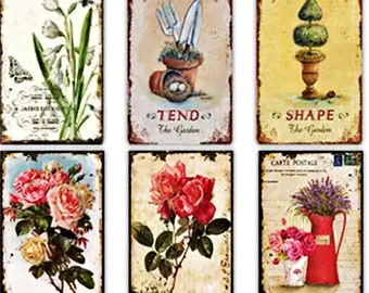 Shabby Chic Vintage Tin Signs Home Decor For Any Wall - 9 Sets Of Six Signs