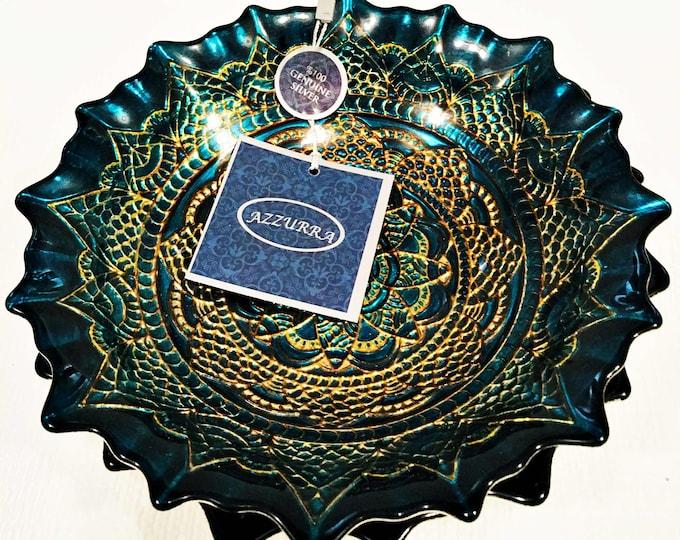 Beautiful  Turkish Azzurra Handmade Glass Bowls Genuine Silver