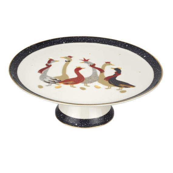Sara Miller London For Portmeirion Christmas Geese 10.5 Inch Footed Cake Plate