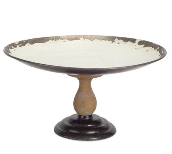 "Distressed White Brown Metal Wood Pedestal Tray 14"" Round 7"" High"