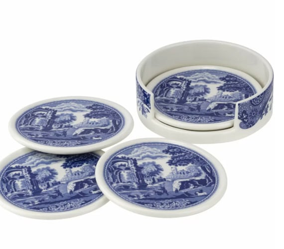 4 Piece Blue Italian Ceramic Coasters With Holder By Spode