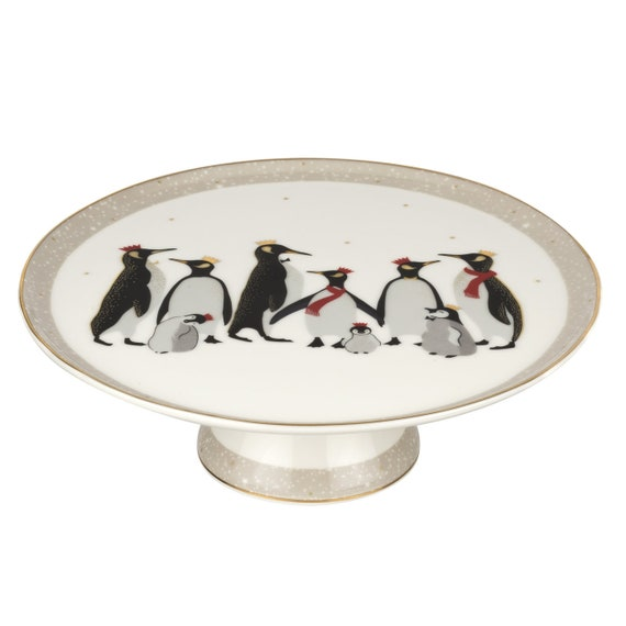 Sara Miller Portmeirion Christmas Penguin 10.5 Inch Footed Cake Plate