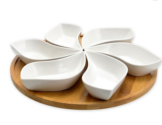 Signature Modern 7-Piece Petal Lazy Susan Appetizer Serving Set