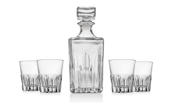 Shannon 5 Piece Crystal Whiskey Bar Set By Union Square - Made In Italy