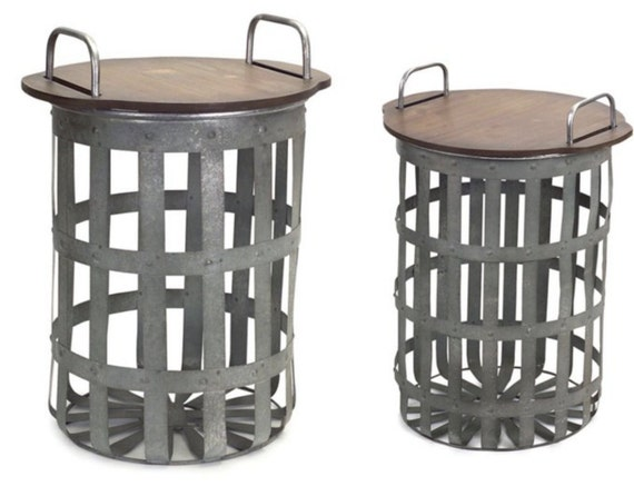 "Back Order April-Melrose Side Table Set Of 2- 15.5""H, 20.25""H Matel & Wood"