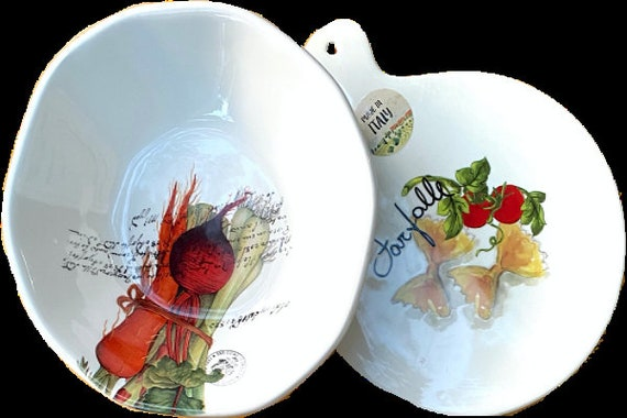 A Pair Of Round Ceramic Trivet And Bowl Set Made in Italy By EFFETTI