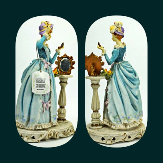 Antique Handmade Giovanni Collectable Figurine Lady Makeup And Mirror - Ships In 24Hrs