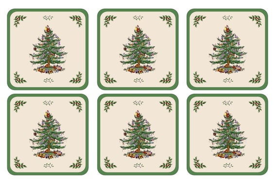Pimpernel Spode Christmas Tree Coasters Set of 6 - Giftware