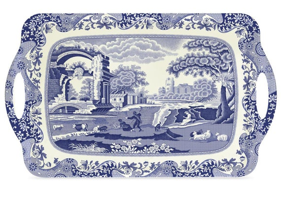 Pimpernel English Blue Italian Classical Trays - Large And Small
