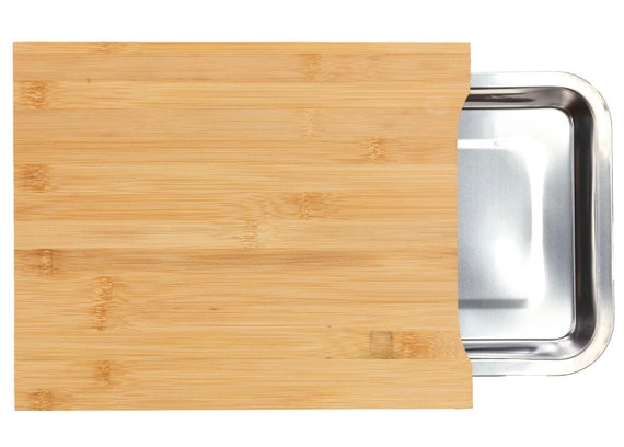 New Natural Bamboo Cutting Board With Removable Stainless Steel Tray, 13x10!!