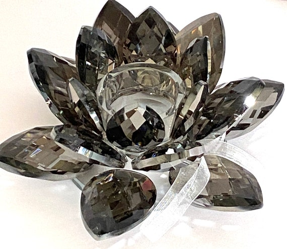 """Shimmery Black Crystal Lotus Votive Holder - 8""""x 8""""x 2.5"""" -"""