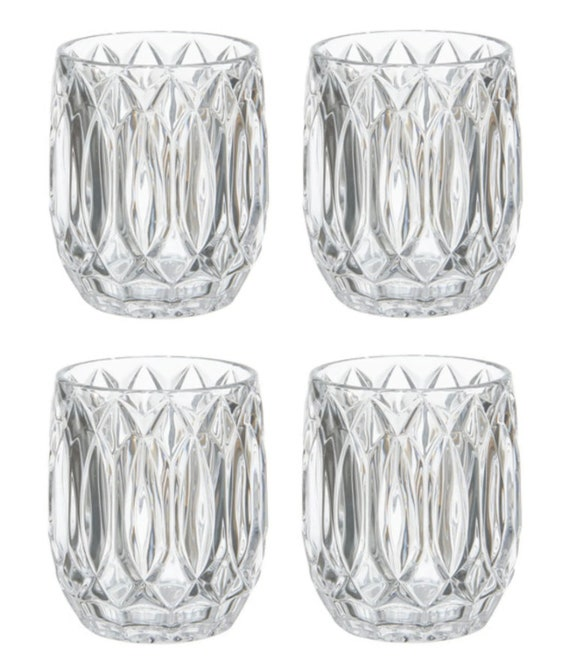 Set Of 4 Mikasa Saxon Crystal Whisky Tumblers Box
