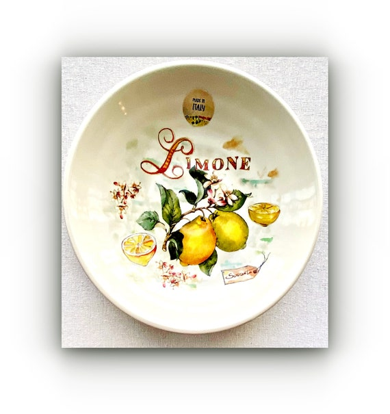 "Ceramica Cuore Lemon Round Serving Bowl 9""W 2"" Deep-Made In Italy"