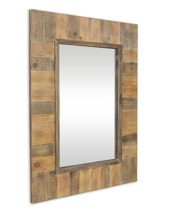 """Wooden Multi Earth Tone Colors Plank Wall mirror - 23.5""""X31.5"""""""