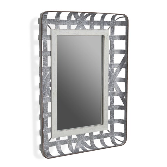 """Galvanized Metal Woven Basket Framed Mirror with Wood Border 20""""X27.5"""""""