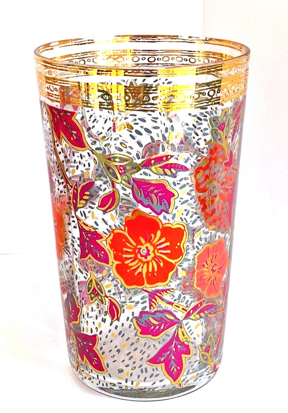 Anthropology Hand Painted With Gilt Floral Festive Glass Set Of 4