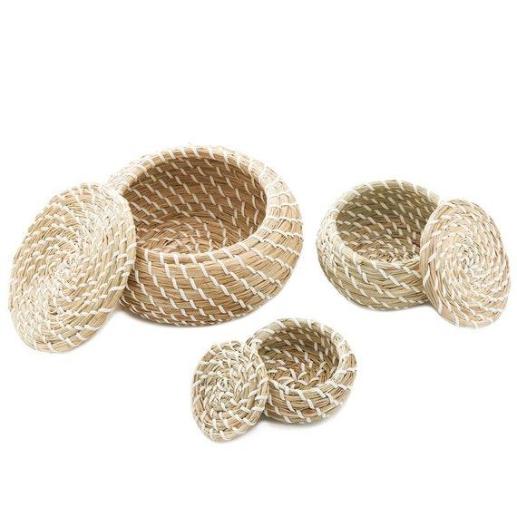 Stackable Woven 3 Piece Seagrass Basket Set