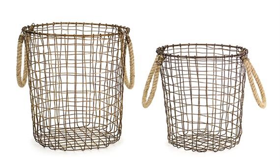 """Melrose Metal Jute Basket Set Of 2 -10""""H, 11.5""""H"""