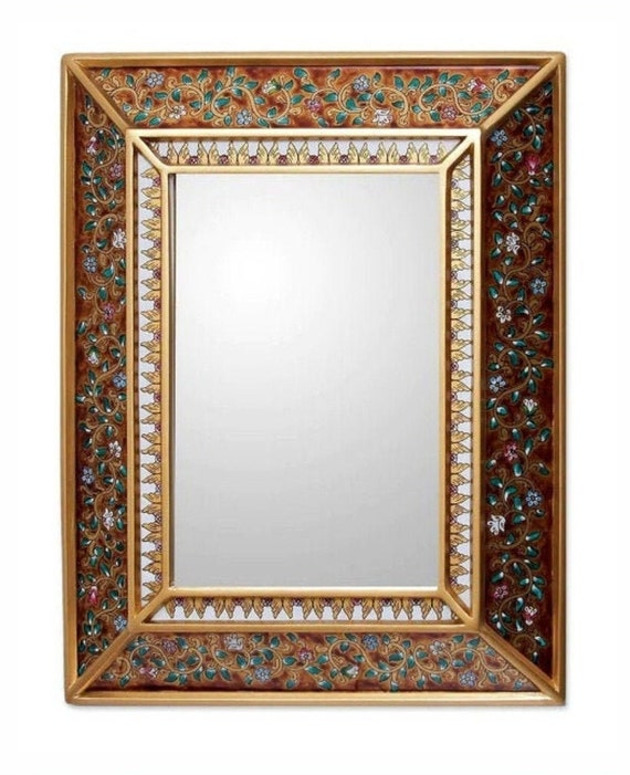 "Gold Artisan Floral Cedar Accent Wall Mirror 19""X15"" Back Order"
