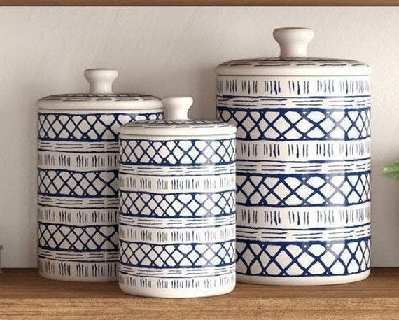 Stoneware 3 Piece Kitchen Canister Set
