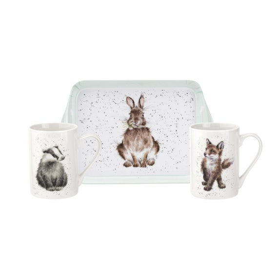 Pimpernel Wrendale Designs 3 Piece Mug and Tray Set (Santa's Helpers)Tray And Blue Mugs Set