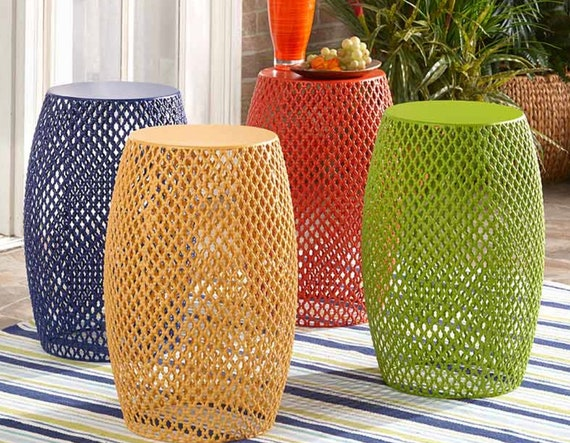 Colorful Metal Lattice Barrel Stools Or Tables For Outdoor Indoor