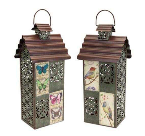 "Melrose International Filigree Birdhouse Lantern Set Of 2- 18"" High"