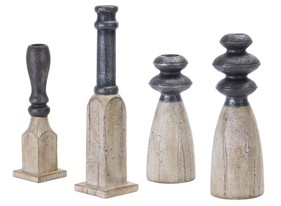 "Set Of 4 Ceramic Nordic Candle Holders By Melrose - 8.75""H, 9.25""H, 11.5""H, 13.25""H"