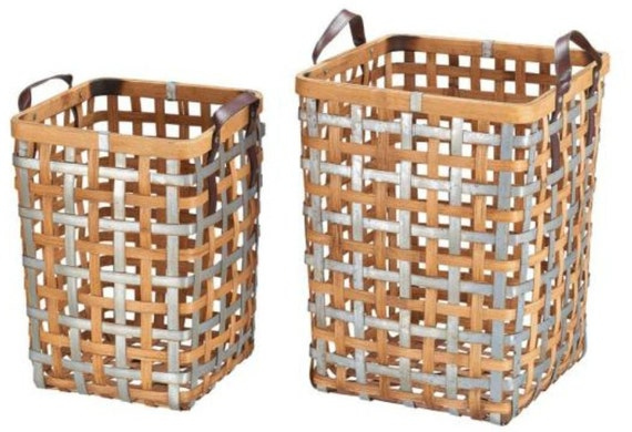Galvanized Metal Natural Bamboo Woven Square Basket with Handles Set Of 2