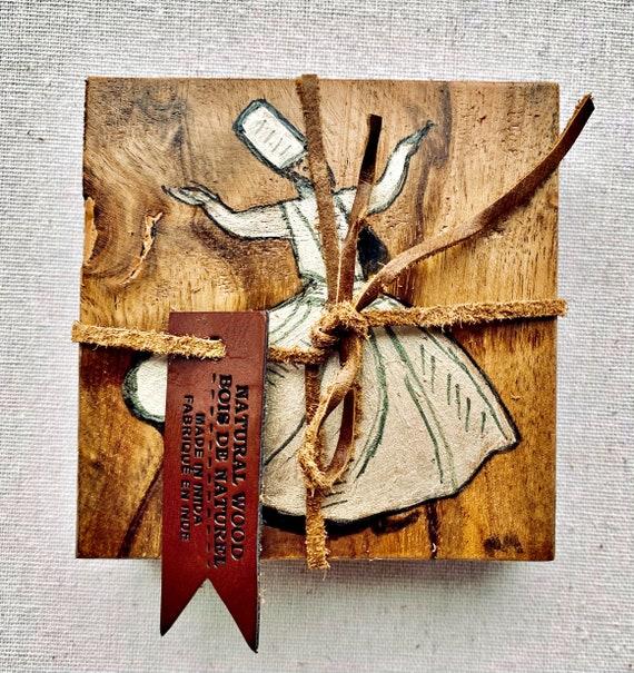 Natural Wood Hand Painted Whirling Dervish Design Coaster Set - Original