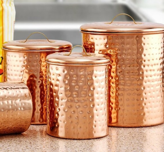 Hammered Copper Color 4 Piece Kitchen Canister Set
