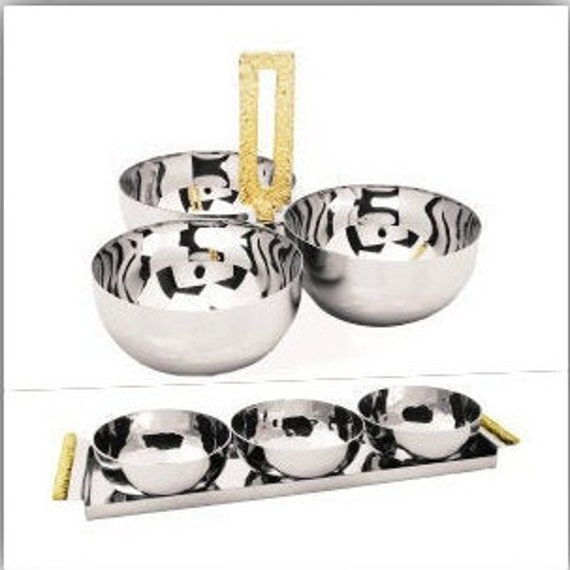 3 Bowls Of  Relish Dish Tray And Loop Styles With Gold Nickel Finish