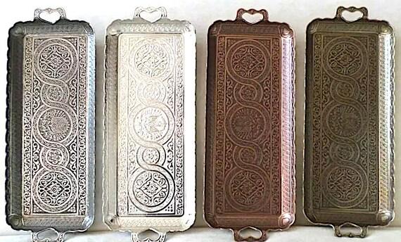 Turkish Handcrafted Copper Coffee Tea Zamak Serving Trays Ottoman Motif - Imported