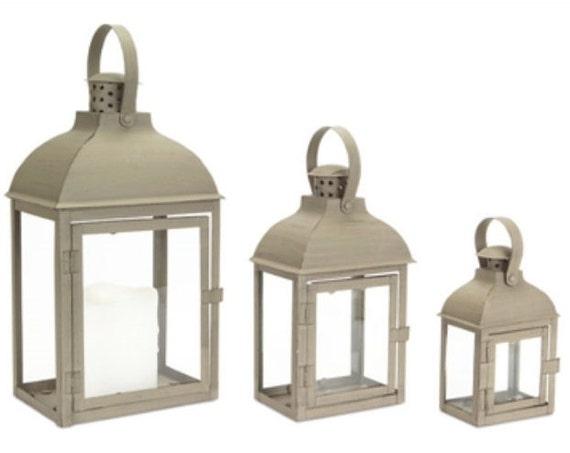 "Set Of 3 Antique Grey Lantern W 7.5"" D 5.5"" H 14.25"" Melrose International"