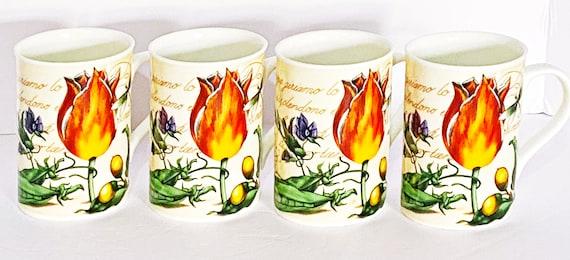 Crown Trent's Regal Bone China Tulip Design Mugs Set Of 4