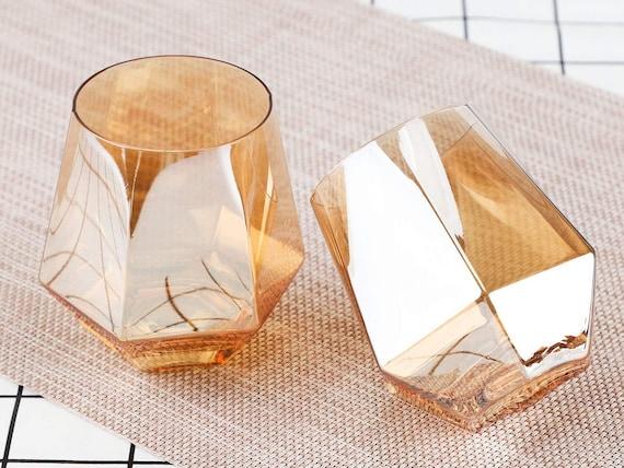 Amber Glass Diamond Cut Glass Set Of 4-