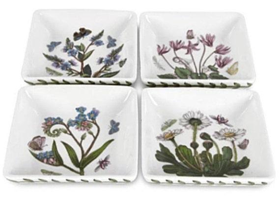 Botanic Garden Set of 4 Square Mini Dishes Valentine Gift Set