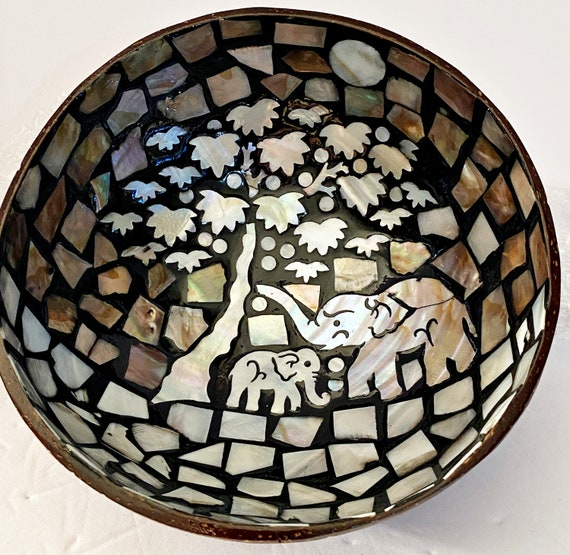 Pair Of Mother of Pearl Inlay Vegan Coconut Bowls Set