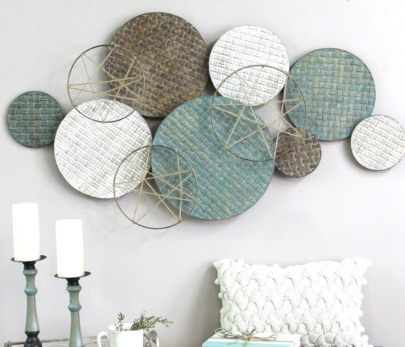 Modern Nordic Woven Texture Metal Plate Wall Decor