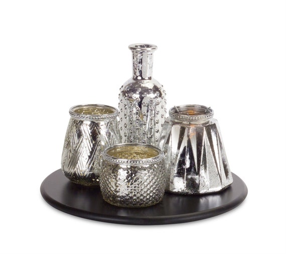 """Melrose Candle Garden 2.5""""-7.25""""H Glass, Include 12"""" Round Wood Tray"""