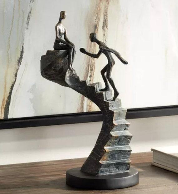"""Climbing Stairs 13 3/4"""" High Bronze Sculpture - Kensington Hill"""