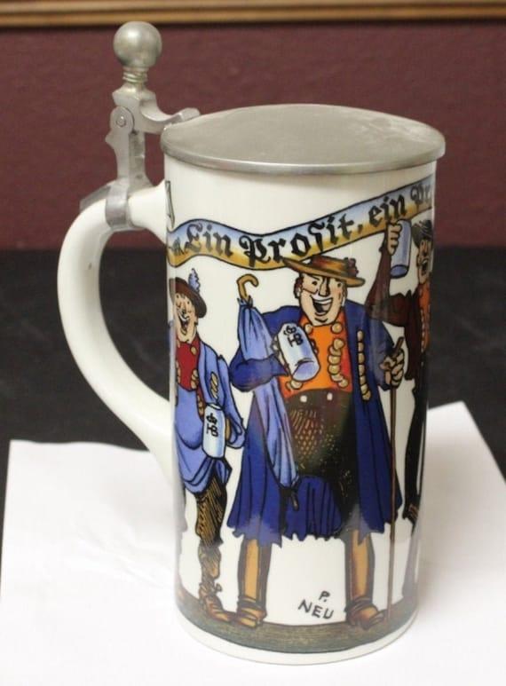 "Pewter Lidded Porcelain Beer Stein Mug 9"" Kurt Hammer Germany"