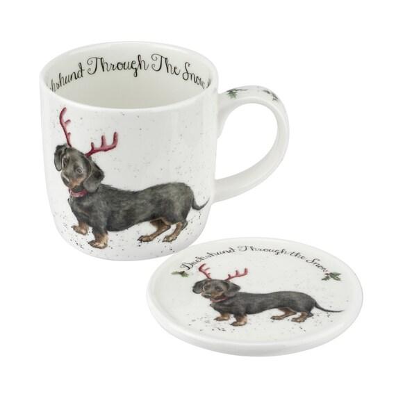 Royal Worcester Wrendale Designs 11 oz Mug & Coaster Set Dachshund Through The Snow