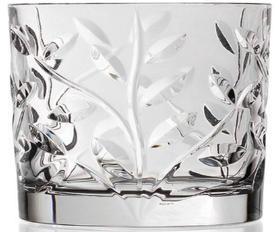 Laurus By Luxion Crystal Whisky Tumblers Set Of 6 In Box - Made In Italy
