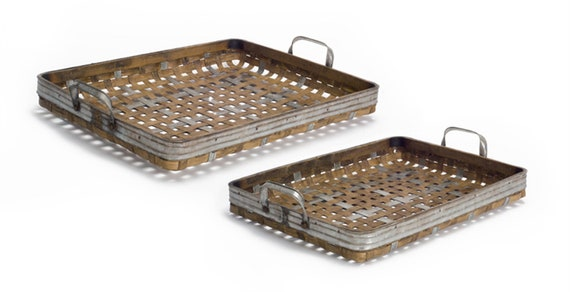 """Rustic American Farm House Style Bamboo Metal Woven Tray Set of 2 - 18.5""""D, 21""""D"""