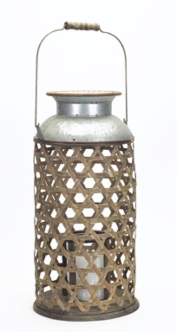 """Melrose Brown Wicker Candle Holder 20.5"""" High  Made With Bamboo, Glass & Metal"""
