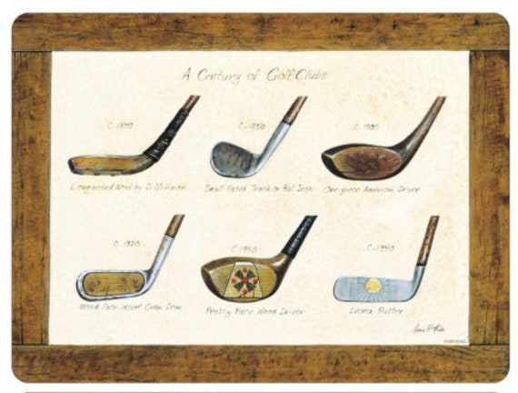 History Of Golf Set 4 Placemats 6 Coaster By Pimpernel
