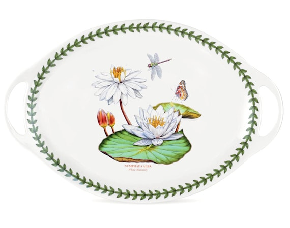 "Portmeirion Exotic Botanic Garden 18"" Oval Handled Platter Water Lily Motif"