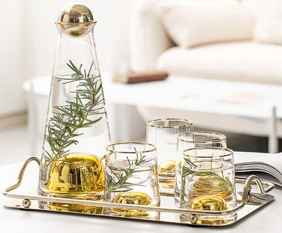 Amber Gradient Glass Pitcher Carafes Cups And Tray Set- Available March 15 2021
