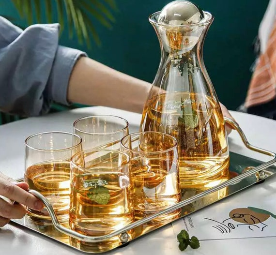 Ambergold Glass High Borosilicate Nordic Style Carafe Set - A Pitcher, Lid, 4 Glasses. Decanter/Water Pitcher Set